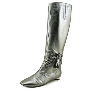 Roger Vivier Stivale Nappine T.15 Women Round Toe Leather Silver Knee High Boot