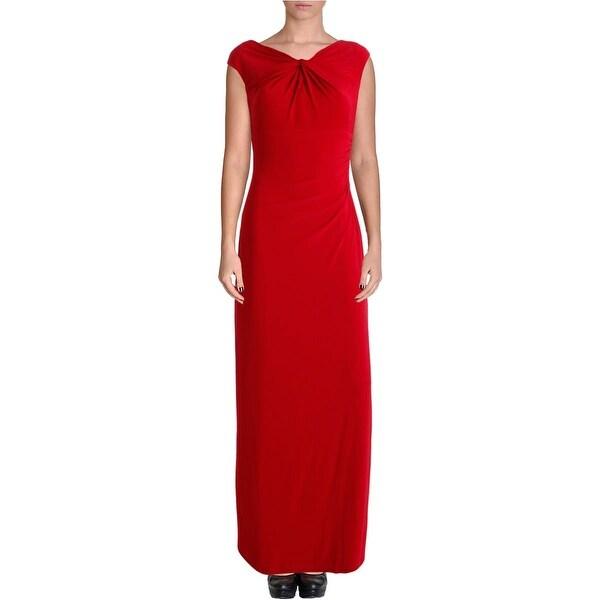 Lauren Ralph Lauren Womens Evening Dress Knot Front Ruched