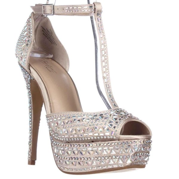 TS35 Flor Rhinestone Peep Toe Platform Dress Sandals, Champagne