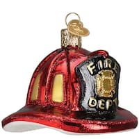 Old World Christmas Fireman's Helmet Glass Blown Ornament