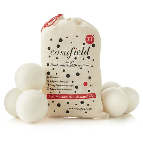 (Set of 6) Organic Wool Dryer Balls - Natural Laundry Fabric Softener - White - 3 Inch Diameter