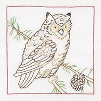 "Owl - Stamped White Quilt Blocks 9""X9"" 12/Pkg"