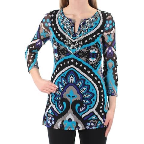 INC Womens Blue Beaded Geometric 3/4 Sleeve V Neck Tunic Top Size XS