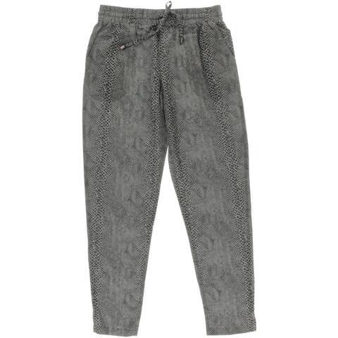 Three Dots Womens Casual Pants Animal Print Single Pleat