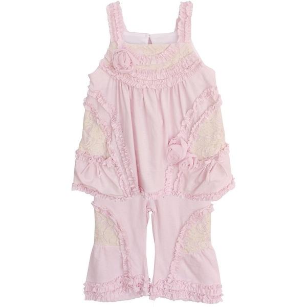 Isobella & Chloe Baby Girls Light Pink Lace Ruffle Layla 2 Piece Pant Set 3M-24M