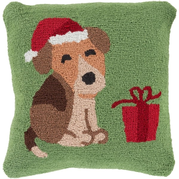 "18"" Tree Green and Cocoa Brown Puppy in a Santa Hat Christmas Throw Pillow –Down Filler"