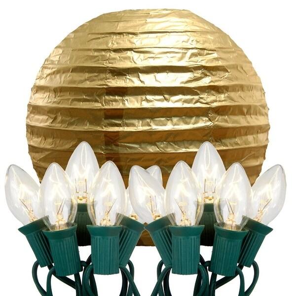 "Set of 10 Gold Glowing Garden Patio Round Lighted Chinese Lanterns 14"""