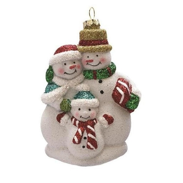 "4.5"" Merry & Bright White, Red and Green Glitter Shatterproof Snowman Family Christmas Ornament"