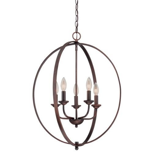 """Millennium Lighting 3035 5 Light 20"""" Wide Pendant with Cage Frame and Candle Style Lights"""