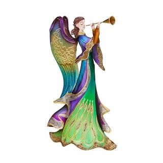 """14"""" Regal Peacock Angel with Trumpet Christmas Table Top Figurine Decoration"""