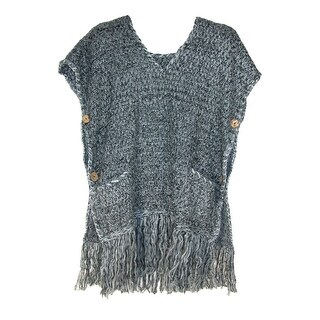 CTM® Women's Knitted Tunic Poncho with Fringe and Pockets - One size