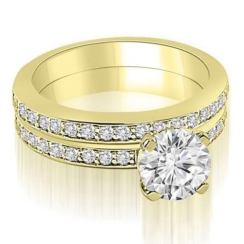 1.10 cttw. 14K Yellow Gold Classic Round Cut Diamond Bridal Set
