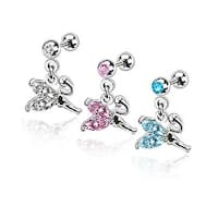 Weeping Fairy Dangle with Gemmed Wings Cartilage/Tragus Barbell 316L Surgical Steel (Sold Ind.)
