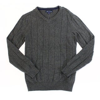 John Ashford NEW Gray Charcoal Heather Mens Size Small S V-Neck Sweater
