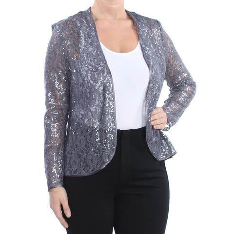 SLNY Womens Gray Lace Sequined Evening Jacket Size 6
