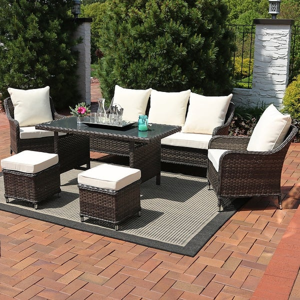 Sunnydaze Veria 6-Piece Wicker Rattan Sofa Dining Patio Furniture Set