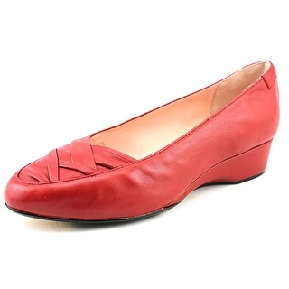 Taryn Rose Faulk Women Round Toe Leather Red Loafer