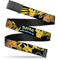 Blank Black  Buckle Pokemon Electric Raichu & Pikachu Poses Black Web Belt