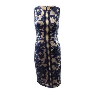 JAX Women's Sequined Midi Sheath Dress (4, Navy) - Navy - 4