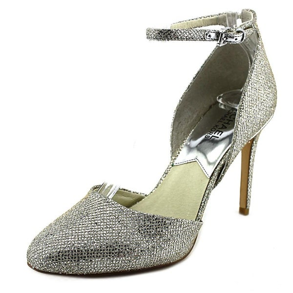 Michael Michael Kors Georgia Ankle Strap Women Pointed Toe Canvas Silver Heels