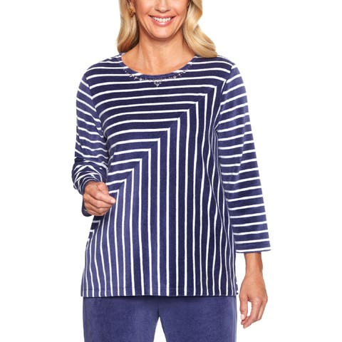 Alfred Dunner Womens Pullover Top Velour Striped - L