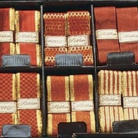 """Red and Gold Ribbon Box 36 Piece Set 1.5"""" x 108 Yards"""