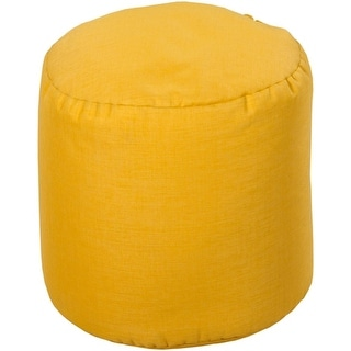 "18"" Yellow Circle Chic Round Outdoor Patio Pouf Ottoman"