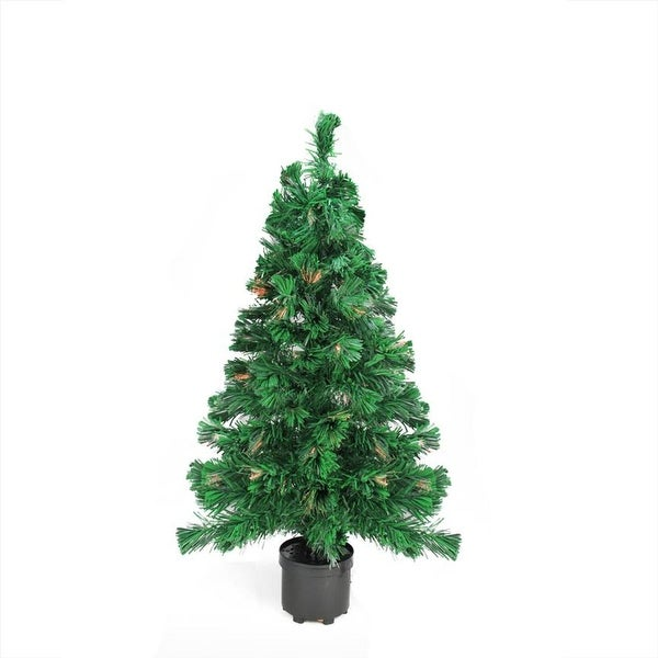 2' Pre-Lit Color Changing Fiber Optic Artificial Christmas Tree - Multi Lights - green