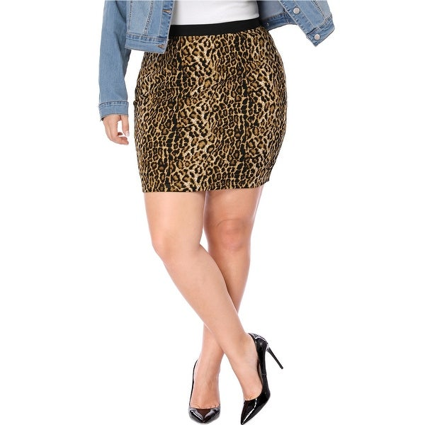 Allegra K Women Plus Size Leopard Prints Elastic Waist Pencil Skirt