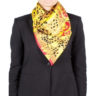 Versace Women's Medusa Head Cheetah Pattern Silk Scarf