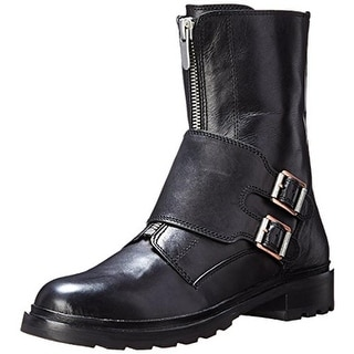 Calvin Klein Jeans Womens Suzetta Motorcycle Boots Leather Monk Strapped - 5.5 medium (b,m)