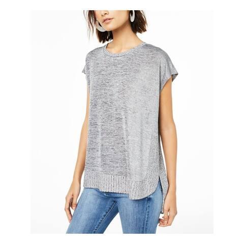 BAR III Silver Cap Sleeve Hi-Lo Sweater XL