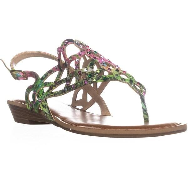 ZiGiSoho Mariane Flat Thong Sandals, Green Multi