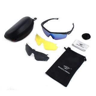 ROBESBON Authorized Interchangeable Lens Polarized Cycling Glasses Set Black