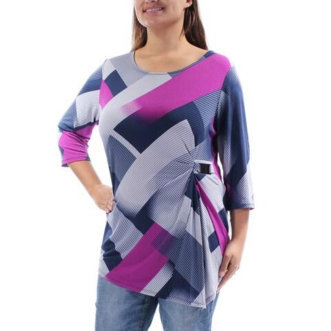 ALFANI $60 Womens 1507 Blue Geometric 3/4 Sleeve Jewel Neck Casual Top XL B+B