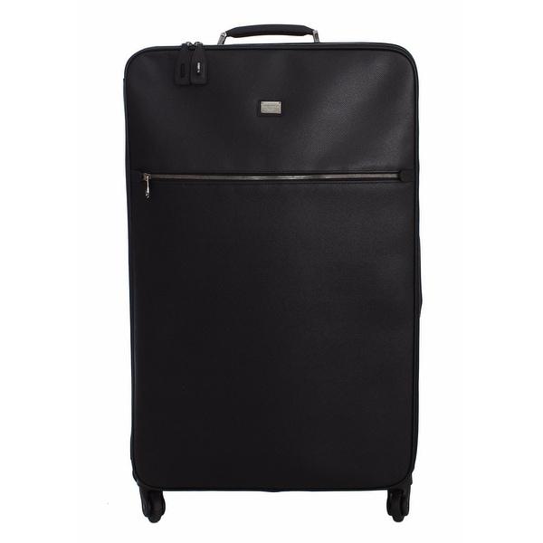 Dolce  amp  Gabbana Luggage Bag Black Leather Travel Suitcase Trolley ... 846c5fdf8fa07