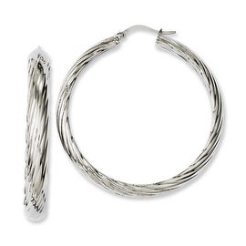 Chisel Stainless Steel Textured 40mm Hollow Hoop Earrings