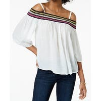 BCX White Women's Size Small S Embroidered Off-The-Shoulder Blouse