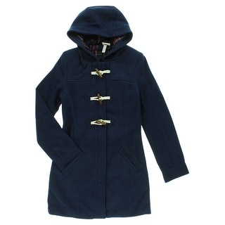 Adidas Womens Duffle Hoodie Extra Long Jacket Navy Blue - Navy Blue