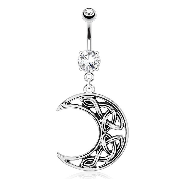 Crescent Moon with Weaving Pattern Dangle 316L Surgical Steel Navel Belly Button Ring