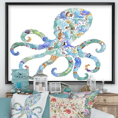 Designart 'Octopus Made Of Octopus' Nautical & Coastal Framed Art Print