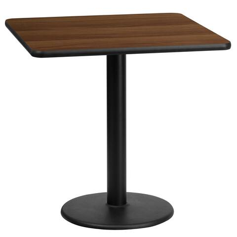 "Dyersburg 24'' Square Walnut Table Top w/30"" High Round Base"