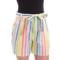 TOMMY HILFIGER Womens Ivory Belted Striped Short  Size: 2