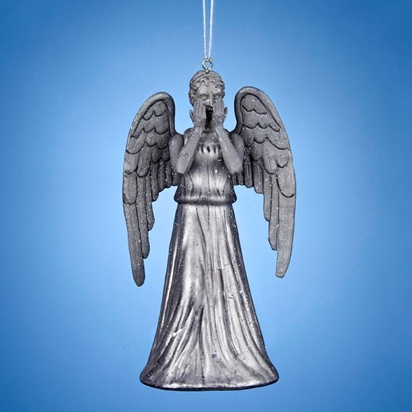 """5"""" Doctor Who Silver Glass Mysterious Weeping Angel Christmas Ornament"""