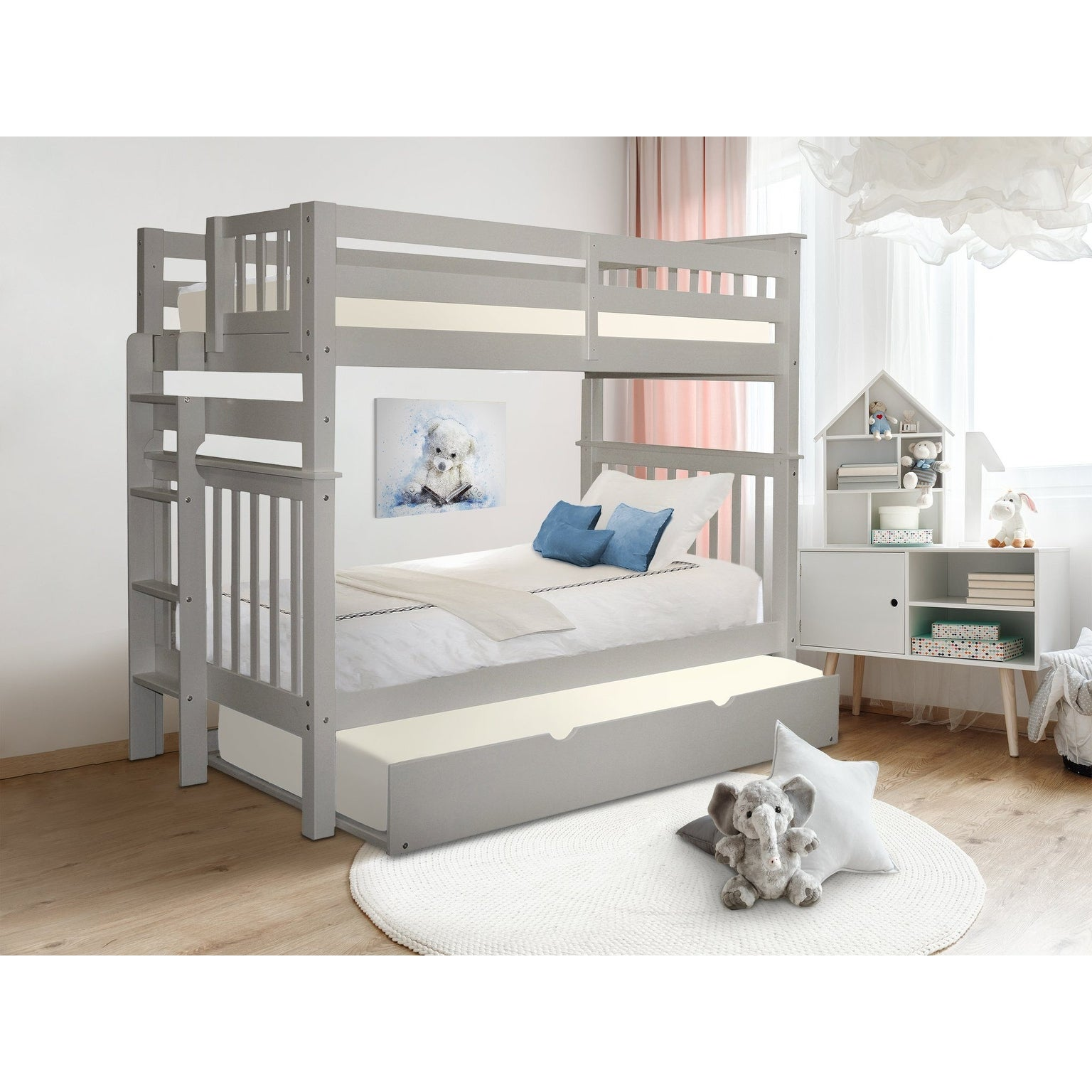 Taylor Olive Trillium Tall Twin Over Twin Bunk Bed With Twin Trundle Overstock 14229151
