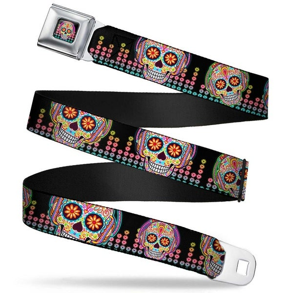 Tranquility Beats Calavera Floral Equalizer Full Color Black Multi Color Seatbelt Belt