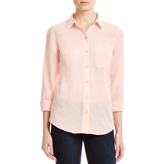 Michael Kors Womens Button-Down Top Crepe Textured