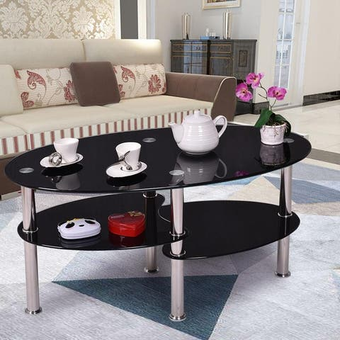 Tempered Glass Living Room Furniture Oval Side Coffee Table w/Chrome Base