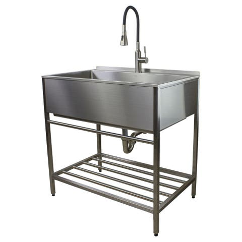 Transolid TFH-3622-SS 36-in Stainless Steel Laundry Sink with Wash Stand in Brushed Satin