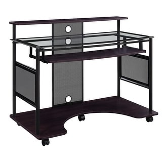 Link to Vision Glass Multi-Media Home Office Rolling Desk Similar Items in Desks & Computer Tables